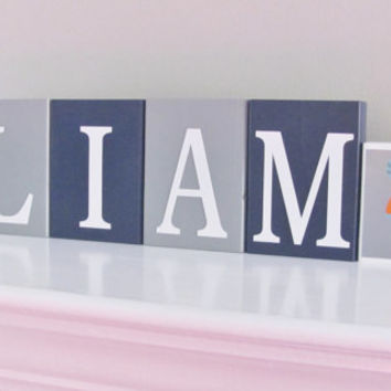 Nursery Letters, Baby Name Blocks, Baby Boy Nursery, Name Blocks, Navy Blue Gray, Baby Boy, Baby Names, Baby Gift, Baby Shower, Photo Prop