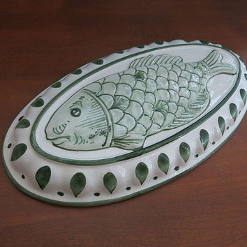 Ceramic Fish Mold Wall Decor Hand Painted Italy Vintage 1980s
