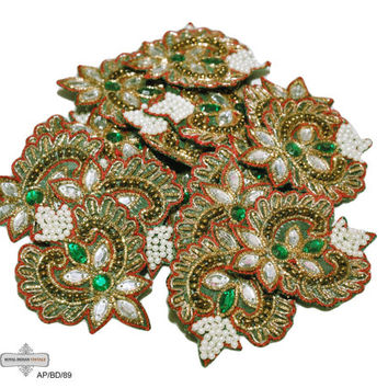 Beaded Appliqués Indian Women Dress Craft Sewing Costume Patches Green Appliqués/  Bridal Appliqués Free Shipping 10 Pcs AP/BD/89 Hand Craft