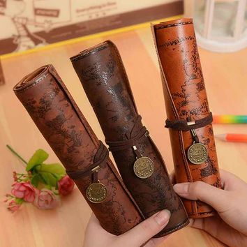 Vintage Treasure Map Roll Up Pencil Cases