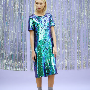 Mermaid Sequin Midi Dress