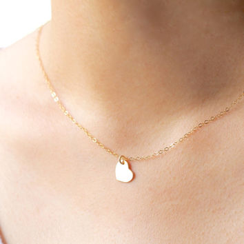 Tiny Heart Necklace, 14k Gold Filled Heart Necklace,  Gold Heart Necklace, Minimal Necklace,Layering necklace,Bridesmaids Gift,Heart Jewelry