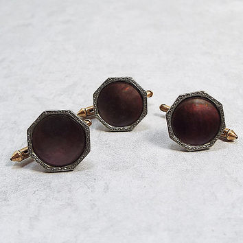 Two Tone Octagon Vintage Abalone Shirt Studs Tuxedo Studs Set of 3 Rolled Gold Plate Mens Formal Suit Jewelry Wedding Groom Best Man Gift