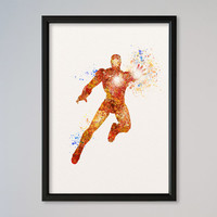 Iron Man Poster Watercolor Print Marvel Comics The Avengers Assemble Tony Stark