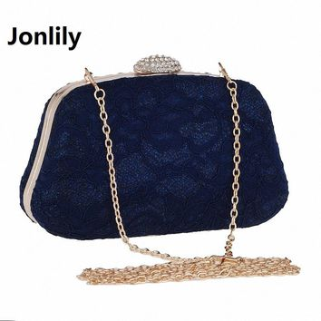 Jonlily Bridal Wedding Satin Evening Bags Lace Floral Day Pouch Clutches Women Messenger Shoulder Bag Purse Party Girl LI-298