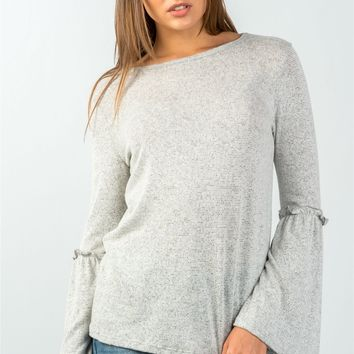 Grey Ruffle Detail Bell Sleeve Top