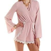 Blush Lace-Trim Bell Sleeve Wrap Romper by Charlotte Russe