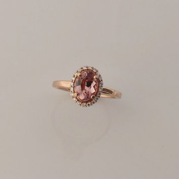 Apricot Colored Spinel Over 2cts 14k Rose Gold Diamond Halo Engagement Ring Weddings Anniversary
