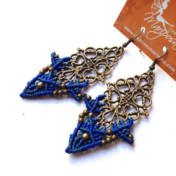 Hippie-chic elven blue handwoven earrings boho bohemian hippie gypsy woodland elf knotted micromacrame