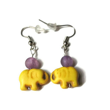 Yellow Elephant Earrings, Howlite Magnesite and Purple Crackle Quartz Beads, Nickel Free French Ear Wires