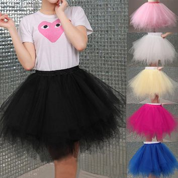 2018Tulle Skirts Womens High Quality Elastic Stretchy Tulle Teen Layers Summer Womens Adult Tutu Skirt Pleated Mini Skirts
