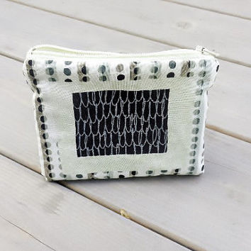 Small Zipper Pouch Pencil Case Gadget Pouch - Dots and Squares in Olive and Black