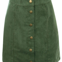 Leonora Faux Suede Front Button Mini Skirt in Khaki Green