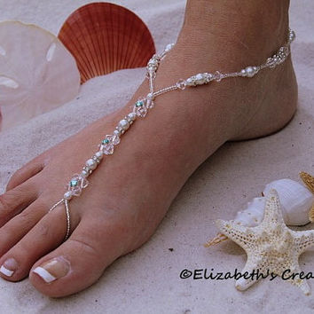 Barefoot Sandal - Simply Elegant Swarovski Crystals with Aquamarine Swarovski Rhinestones with White Pearls and Silver Beads