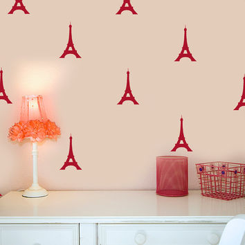 Paris Decals / Abstract Wall Art / Geometric Wall Decals / 30 Eiffel Towers / Office Wall Decor / Teen Gifts / Trendy Gifts