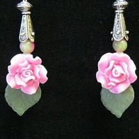 Valentines Day, Rose Earrings/ Fimo Roses Acrylic Flowers, Gemsotnes Handcrafted , Say it with Roses
