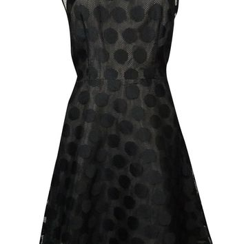 Betsey Johnson Women's Illusion V-Back Polka Dot A-Line Dress