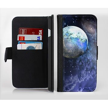 The Foreign Vivid Planet Ink-Fuzed Leather Folding Wallet Credit-Card Case for the Apple iPhone 6/6s, 6/6s Plus, 5/5s and 5c