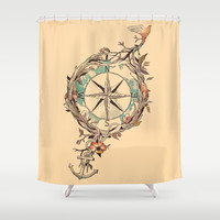 Bon Voyage Shower Curtain by Norman Duenas