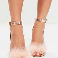 Missguided - Rose Gold Feather Strap Barley There Heels