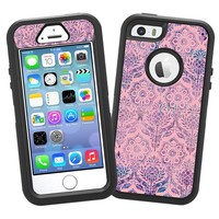 """Vintage Purple and Pink Damask """"Protective Decal Skin"""" for OtterBox Defender iPhone 5s Case"""
