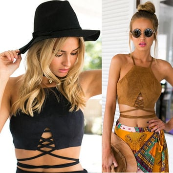 New Arrive Faux Suede Halter Cross Hollow Boho Bohemian Bandage Camis Women's Sexy Bustier Bralet Cropped Top Vest Camis
