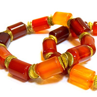 Brilliant Autumn Colors, 2 easy wear Carnellian stone and brass stretch stacking bracelets, birthstone for Leo and Virgo