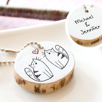 PERSONALIZED Couple Keychain Cat Cute Drawing by HappyCatPrints