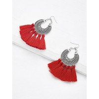 Tassel Drop Statement Earrings