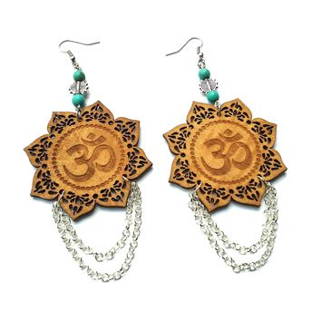 Om, Ohm Lotus flower dangle earrings
