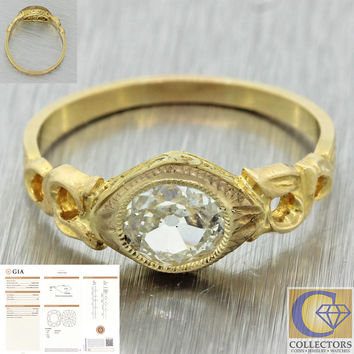 1880s Antique Victorian 14k Solid Gold .58ct Cushion Cut Diamond Ring GIA