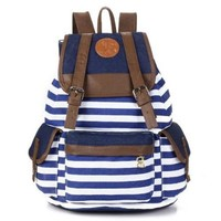 Unisex Fashionable Canvas Backpack School Bag Super Cute Stripe School College Laptop Bag for Teens Girls Boys Students - Blue Stripe:Amazon:Computers & Accessories