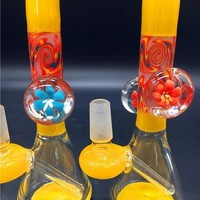 Mini heady glass oil rigs Glass Bongs water pipes 14.4mm joint colorful designed glass bongs smoking bongs