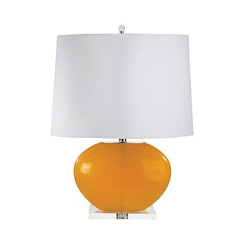 319 Blown Glass Oval Table Lamp In Orange - Set of 2