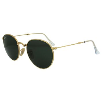 RayBan Round Metal Folding Sunglasses - Gold Green Classic G-15 3532 50-22