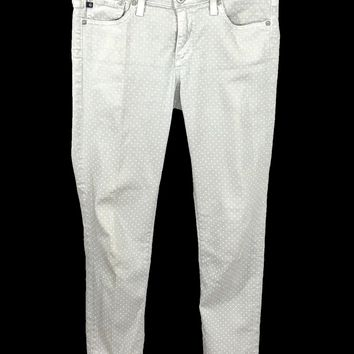 AG Adriano Goldschmied The Stevie Ankle Dots Slim Straight Leg Jeans Womens 27 - Preowned