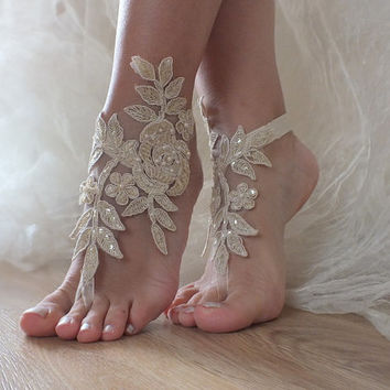 Free Ship  bridal anklet, gold embrodeired, Beach wedding barefoot sandals, bangle, wedding anklet, anklet, bridal, wedding