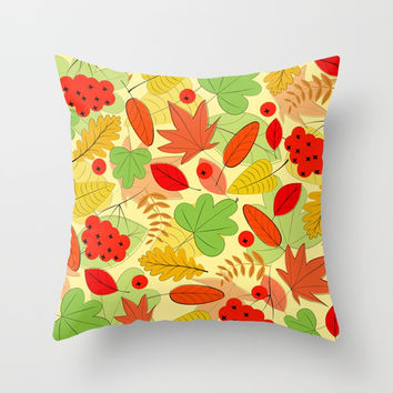 Autumn leaves Throw Pillow by Graf Illustration