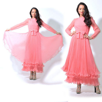 VTG 70s Coral Sheer Chiffon Accordion Pleats Swing Tier Maxi Dress Gown