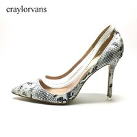 2017 New Style Women Sexy Snake Skin Pumps Mixed Colors Prints Spring Super High Heels Pointed Toe Lady Shoes