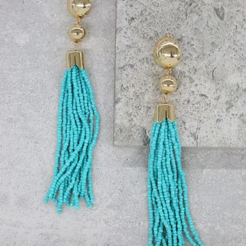 Beaded Mini Duster Earring in Turquoise and Gold
