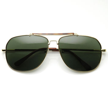 Retro Classic Square Crossbar Metal Aviator Sunglasses 9293