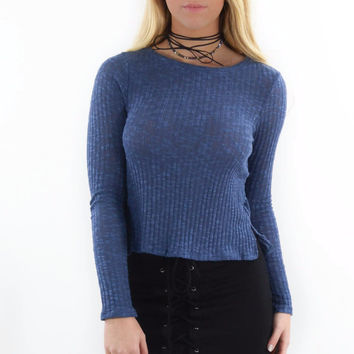 Pine Bluff Navy Ribbed Sweater