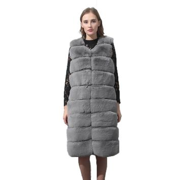 CP Brand Long Artifical Faux Fur Jacket V-neck Women Winter Clothes Wrap Knitting Causal Fake Rabbit Fur Vest Woman Coat