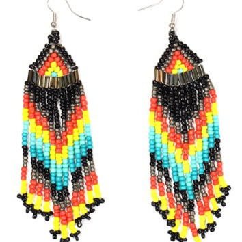 Black Beaded Native Fringe Chandelier Earrings Dangling Tribal EE50 Statement Fashion Jewelry