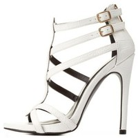 White Strappy Asymmetrical Caged Heels by Charlotte Russe