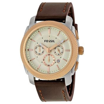 Fossil Men's FS5040 'Machine' Chronograph Brown Leather Watch