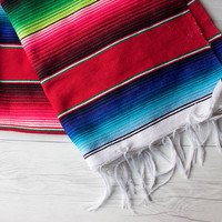 Vintage Mexican Woven Serape Table Runner | Southwestern Style Textiles