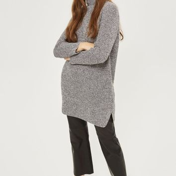 Ribbed Grunge Funnel Neck Jumper Dress | Topshop