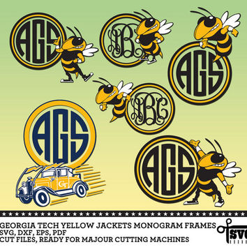 Georgia Tech Yellow Jackets Monogram Frames - Vector Digital Cut Files. SVG, dxf, eps, pdf for Silhouette, Cricut vinyl Die Cutting - CF-04